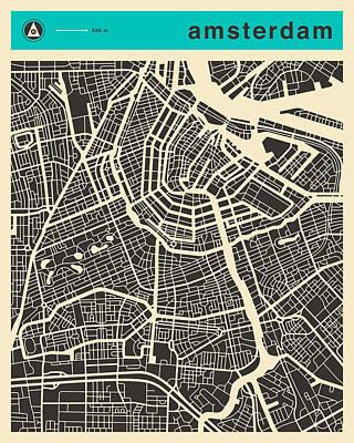 Amsterdam Digital Art - Amsterdam Map 1 by Jazzberry Blue