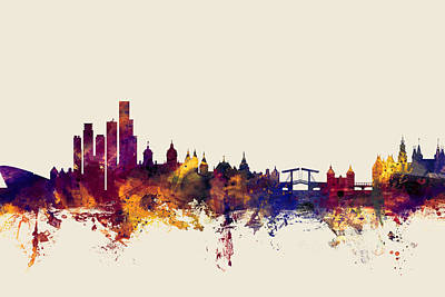 Dutch Digital Art - Amsterdam The Netherlands Skyline by Michael Tompsett