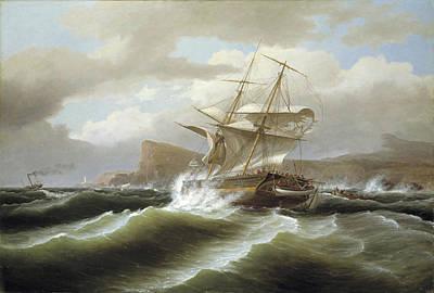 An American Ship In Distress Art Print by Thomas Birch