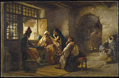 Orientalist Painting - An Interesting Game by Frederick Arthur Bridgman