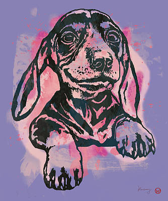 Animal Pop Art Etching Poster - Dog  5  Print by Kim Wang