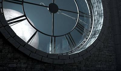 Antique Backlit Clock And Moon Art Print