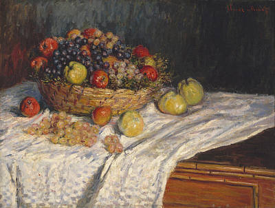 Apples And Grapes Print by Claude Monet