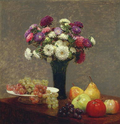 Pinks And Purple Petals Painting - Asters And Fruit On A Table by Henri Fantin-Latour
