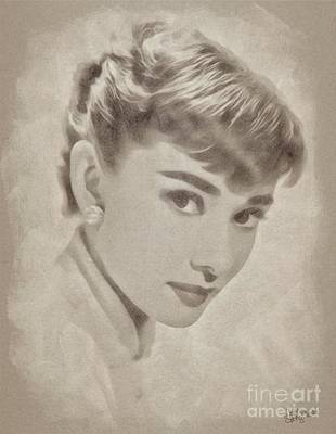 Musicians Drawings Rights Managed Images - Audrey Hepburn Hollywood Actress Royalty-Free Image by John Springfield
