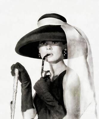 Actors Royalty-Free and Rights-Managed Images - Audrey Hepburn, Vintage Actress by JS by John Springfield