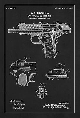 Handgun Digital Art - Automatic Pistol Operated By Gas - Patent Drawing For The 1899 Gas Operated Firearm By J. M. Brownin by Jose Elias - Sofia Pereira
