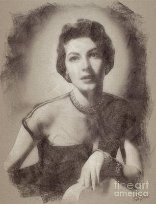 Musicians Drawings Rights Managed Images - Ava Gardner Hollywood Actress Royalty-Free Image by Esoterica Art Agency