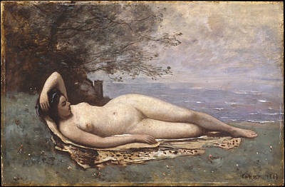Plump Women Wall Art - Painting - Bacchante By The Sea by Camille Corot