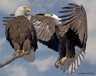 Bald Eagle Pair Art Print by Larry Linton