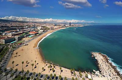 Photograph - Barcelona Beach And Barcelona City by Anek Suwannaphoom