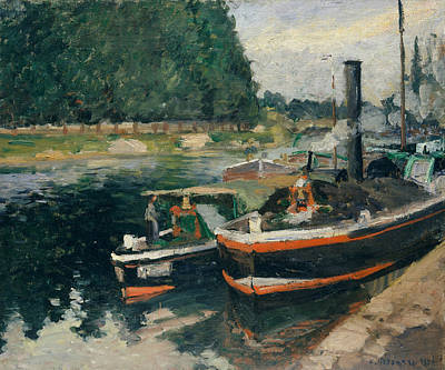 Barges At Pontoise Art Print by Camille Pissarro