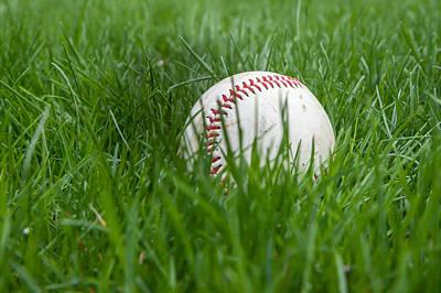 Baseball Closeup Photograph - Baseball In Grass by Erin Cadigan