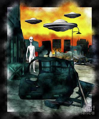 Science Fiction Royalty-Free and Rights-Managed Images - Battlefield Earth - UFO Invasion by Raphael Terra
