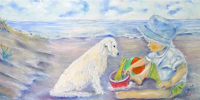 Dog Play Beach Painting - Beach Boy by Loretta Luglio
