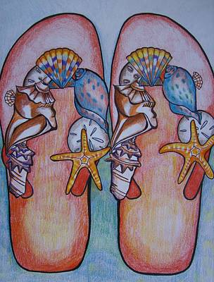 Art Print featuring the drawing Beach Shoes by Leslie Manley