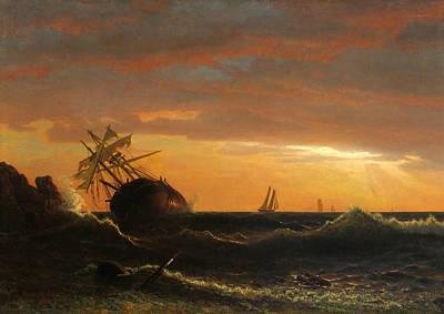 Beached Ship Print by Albert Bierstadt