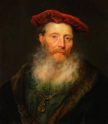 Painting - Bearded Man With A Velvet Cap by Govert Flinck