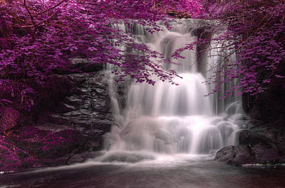 Surrealism Royalty-Free and Rights-Managed Images - Beautiful alternate colored surreal waterfall landscape by Matthew Gibson