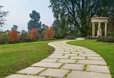 Beautiful Pathway Along The Rose Garden Of The Huntington Librar Art Print