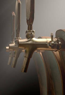 Macro Digital Art - Beer Tap Row by Allan Swart