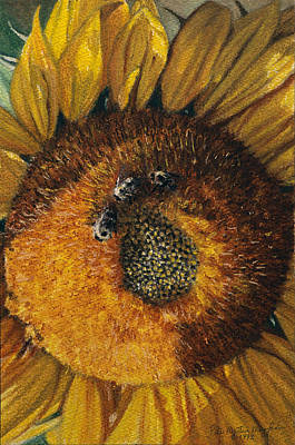 Egg Tempera Painting - 3 Bees by Peter Muzyka