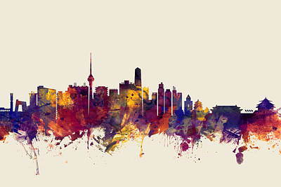 Beijing Digital Art - Beijing China Skyline by Michael Tompsett