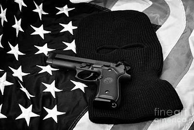 Beretta Handgun Lying On Balaclava And United States Of America Flag Print by Joe Fox
