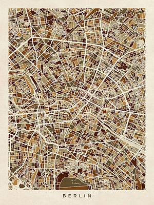 Digital Art - Berlin Germany City Map by Michael Tompsett