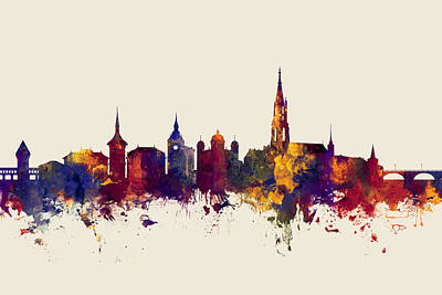 Switzerland Digital Art - Bern Switzerland Skyline by Michael Tompsett