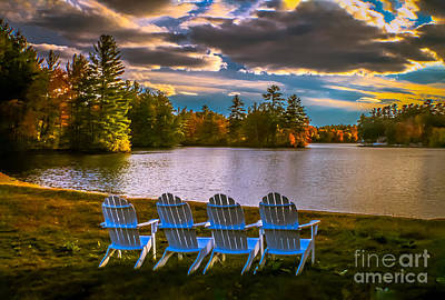 Sunset By The Lake Photograph - Best Seats In Town by Claudia M Photography