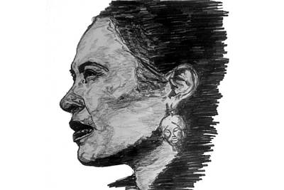 Drawing - Billie Holiday by Rachel Natalie Rawlins