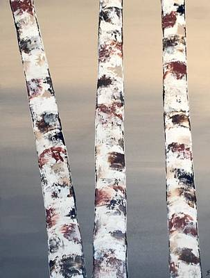 3 Birch Trees Art Print by Judith A Cahill