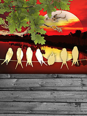 Birds On A Wire Mixed Media - Birds On A Wire Collection by Marvin Blaine