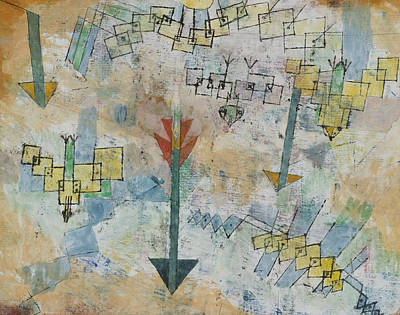 Drawing - Birds Swooping Down And Arrows by Paul Klee