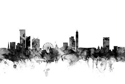 Birmingham Digital Art - Birmingham England Skyline by Michael Tompsett