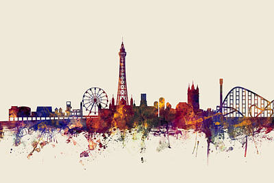 Great Britain Digital Art - Blackpool England Skyline by Michael Tompsett