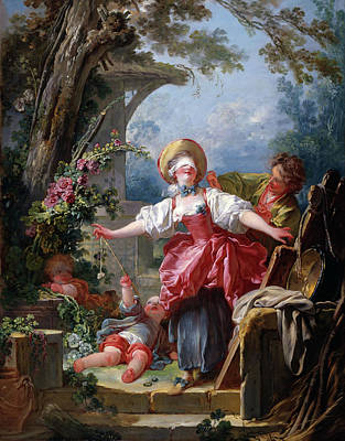 Teenager Painting - Blind-man's Buff by Jean-Honore Fragonard