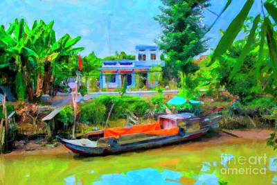 Digital Art - Blue Boat by Rick Bragan