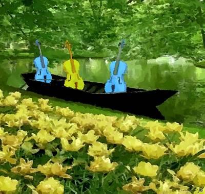 3 Blue Chellos In A Boat Art Print