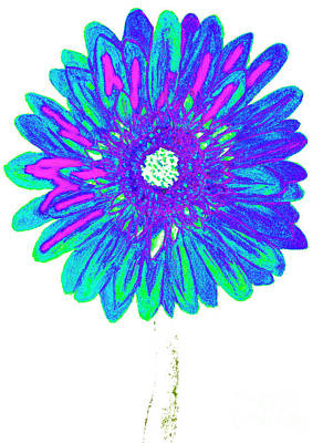 Painting - Blue Gerbera, Painting by Irina Afonskaya