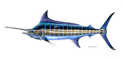 Bonefish Painting - Blue Marlin by Carey Chen