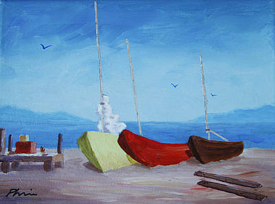 Bob Phillips Surf Art Painting - 3 Boats by Bob Phillips