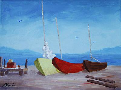 3 Boats Original by Bob Phillips