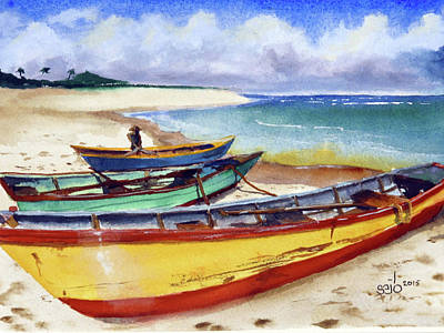 Donny Painting - 3 Boats by Don Seib