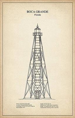 Boca Grande Lighthouse - Florida - Blueprint Drawing Art Print