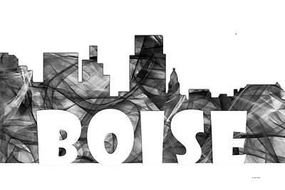 Metropolis Digital Art - Boise Idaho Skyline by Marlene Watson