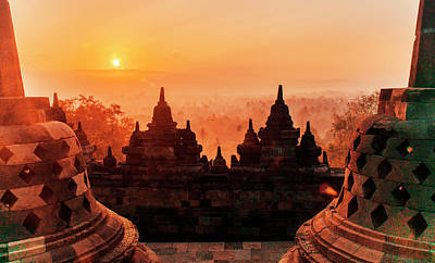 Borobudur Temple At Sunset Sunrise Dusk Art Print