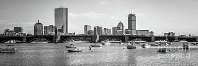 Boston Skyline Black And White Photo Art Print