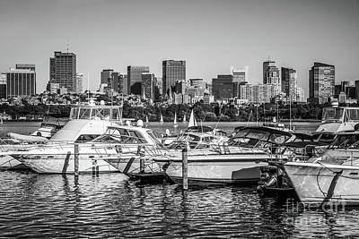 Charles River Photograph - Boston Skyline Black And White Picture by Paul Velgos